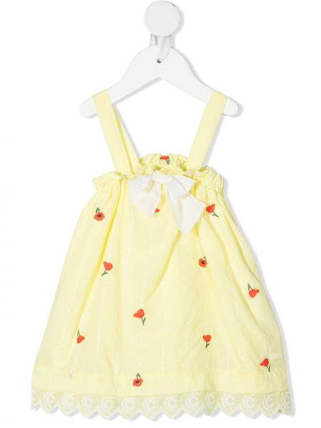 Хлопковый желтый комбинезон с вышивкой Chloé Kids