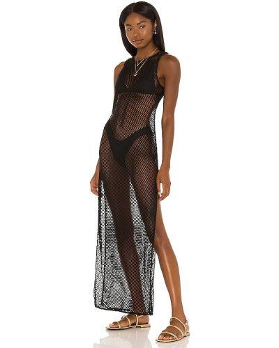 Текстильное черное платье макси сетчатое Michael Costello