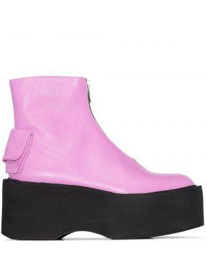 Розовые кожаные ботинки на платформе Natasha Zinko