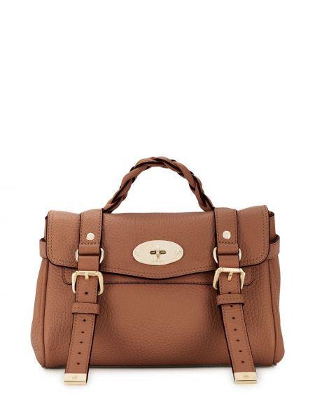 Skórzany brązowy torba kosmetyczna z kieszeniami z klamrą Mulberry