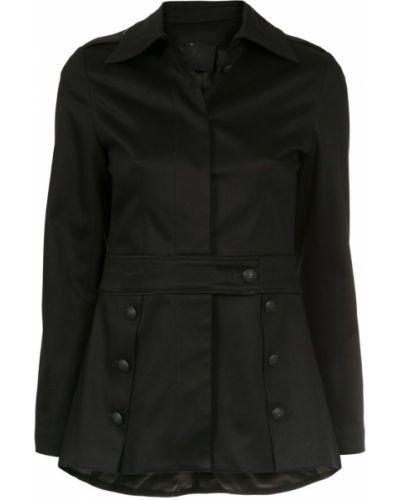 Прямое черное пальто классическое с воротником Andrea Bogosian