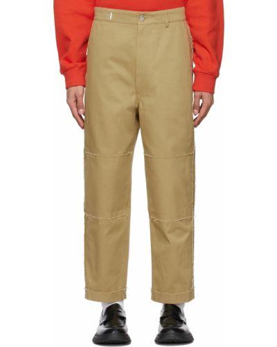 Beżowe spodnie skorzane z paskiem Ader Error