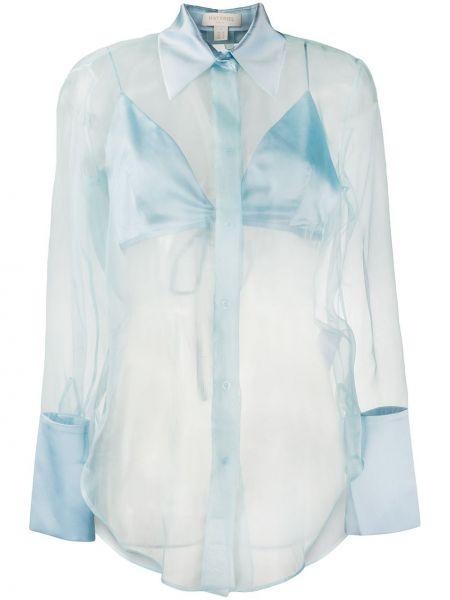 Синяя прямая рубашка с воротником на пуговицах Matériel