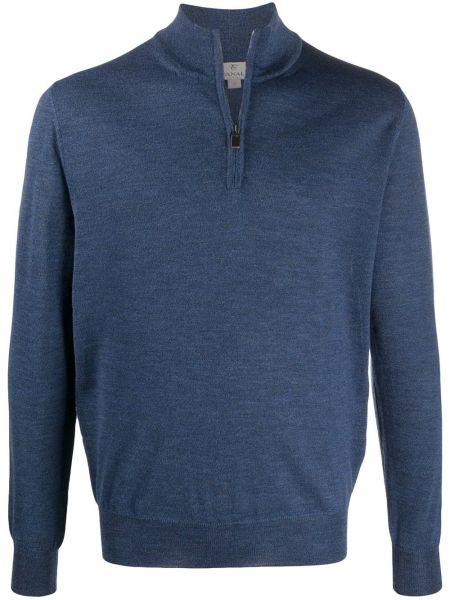 Wełniany z rękawami niebieski pulower z mankietami Canali