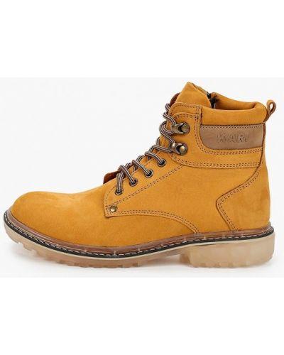 Ботинки из нубука - желтые Kari