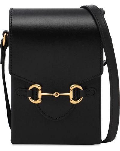 Czarny torba crossbody prążkowany metal z ozdobnym wykończeniem Gucci