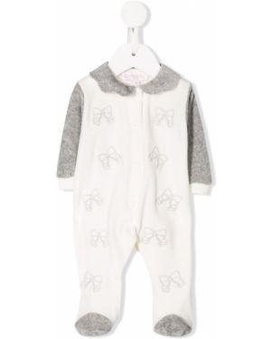 Biała piżama bawełniana z długimi rękawami Aletta