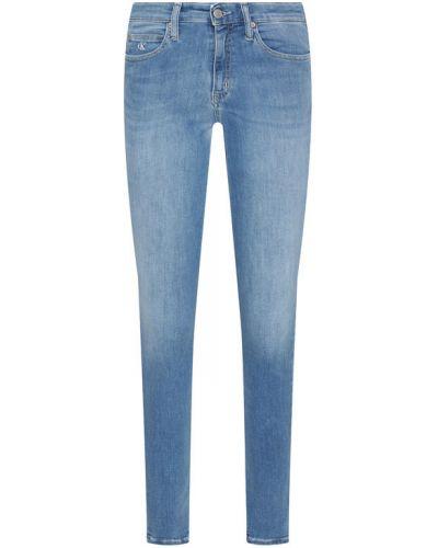 Niebieskie jeansy rurki z wysokim stanem Calvin Klein Jeans
