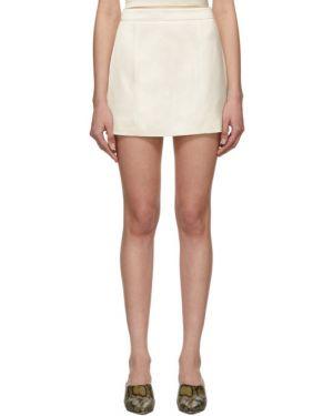 Biały spódnica mini rozciągać z wiskozy Gauge81