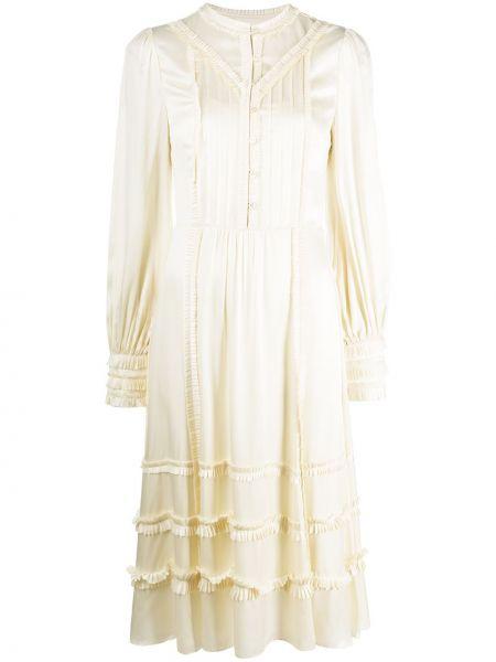 Шелковое платье миди на пуговицах со складками с вырезом Temperley London