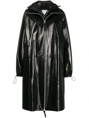 Czarny płaszcz z kapturem skórzany Bottega Veneta