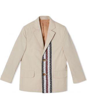 Хлопковый классический пиджак на пуговицах с карманами Burberry Kids