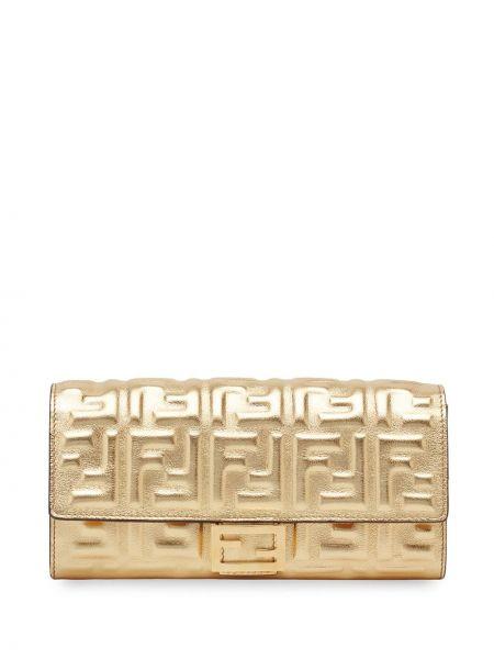 Bawełna skórzany portfel skórzany złoto z kieszeniami Fendi