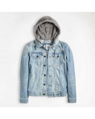 Джинсовая куртка на пуговицах - голубая Abercrombie & Fitch
