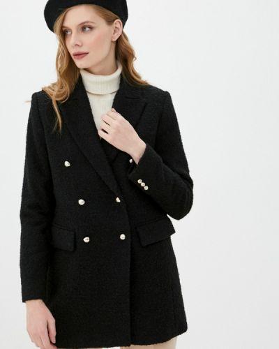 Черное пальто двубортное Mango