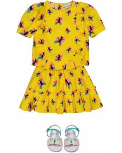 Żółta spódnica bawełniana z printem Stella Mccartney Kids