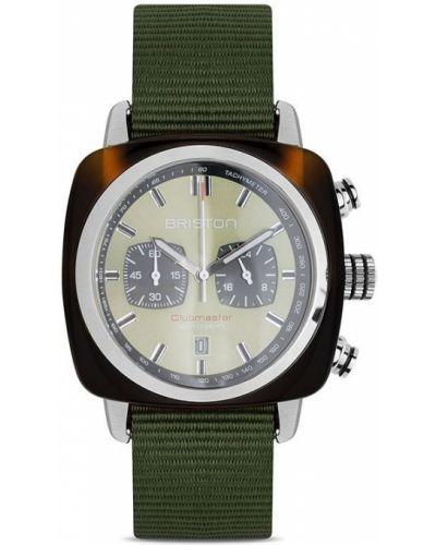 Zielony zegarek kwarcowy srebrny klamry Briston Watches