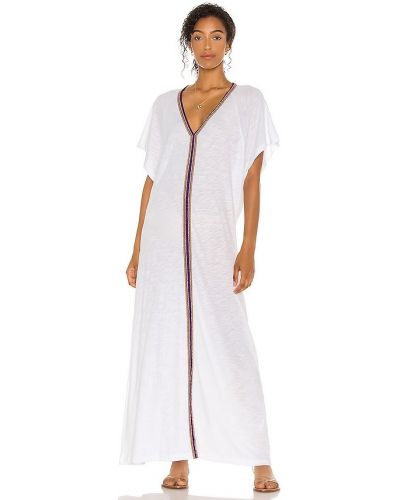 Трикотажное белое платье с вышивкой Pitusa
