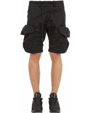 Czarne szorty cargo z paskiem bawełniane Nilmance