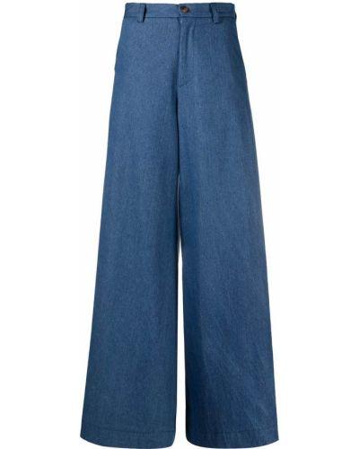 Расклешенные хлопковые синие брюки SociÉtÉ Anonyme