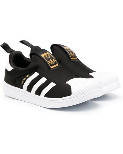 Кожаные черные слипоны с нашивками Adidas Kids