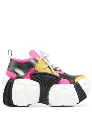Różowe sneakersy skorzane na obcasie Swear