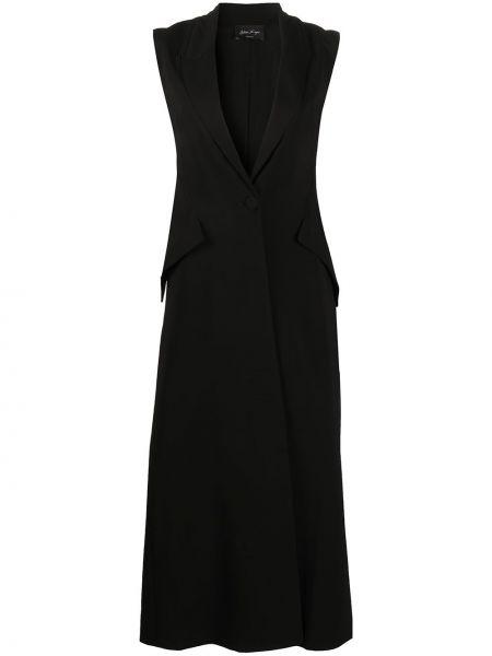 Черное однобортное пальто без рукавов с карманами Andrea Ya'aqov
