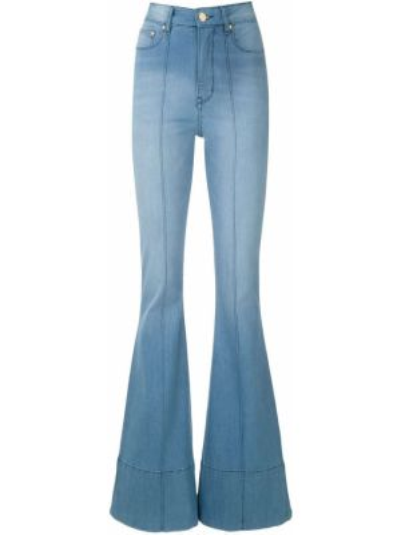 Хлопковые синие расклешенные джинсы на пуговицах узкого кроя Amapô