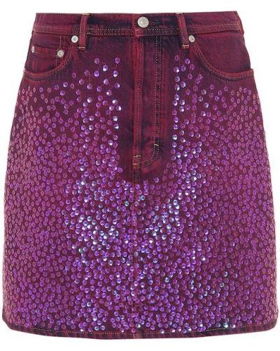 Фиолетовая джинсовая юбка с пайетками Acne Studios