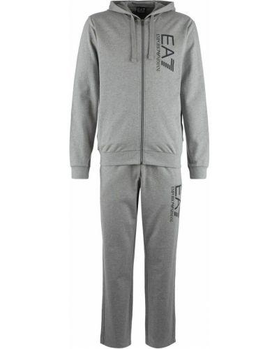 Хлопковый серый костюмный спортивный костюм Ea7