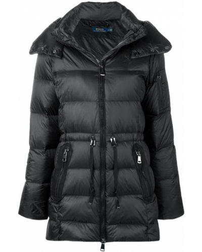 Черное длинное пальто с капюшоном Polo Ralph Lauren