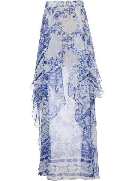 Синяя с завышенной талией юбка макси с драпировкой Patbo