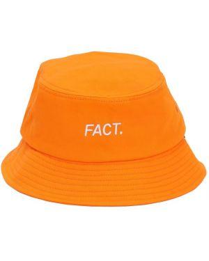 Pomarańczowy kapelusz z printem Fact.