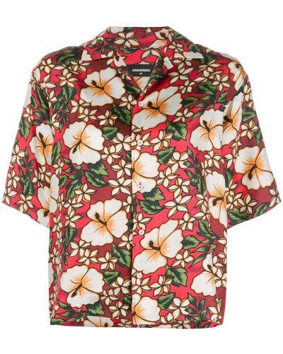 Рубашка с коротким рукавом с цветочным принтом гавайская Dsquared2