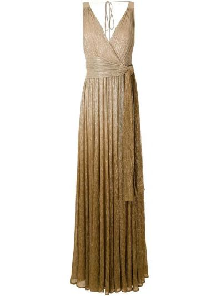 Золотистое желтое платье макси с запахом Reinaldo Lourenço