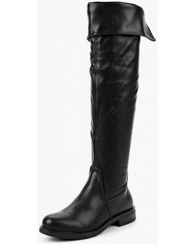 Черные ботфорты кожаные Renda