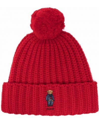 Шерстяная шапка бини - красная Polo Ralph Lauren
