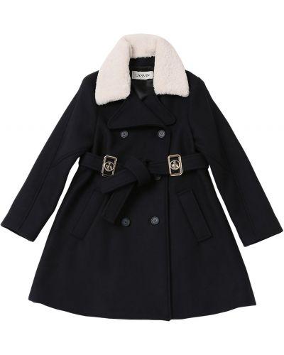 Шерстяное пальто с воротником с поясом Lanvin