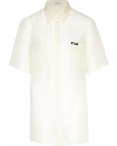 Блузка с коротким рукавом из органзы прозрачная Miu Miu