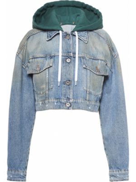 Синяя джинсовая куртка с манжетами на пуговицах металлическая Miu Miu