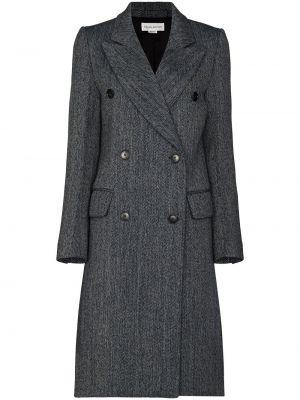 Синее шерстяное длинное пальто двубортное Victoria Beckham
