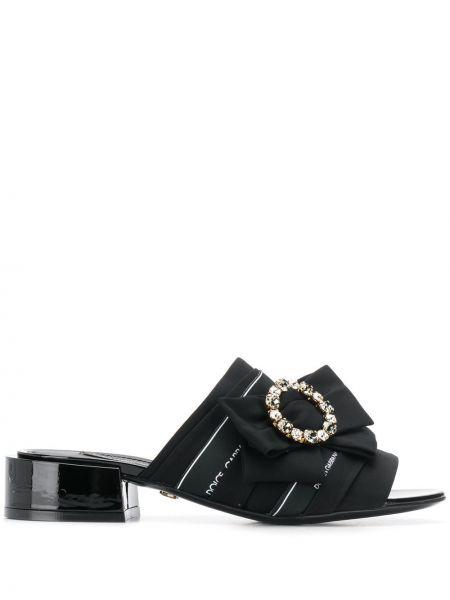Кожаные черные мюли с бантом на каблуке Dolce & Gabbana