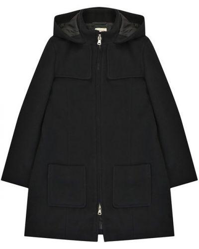 Пальто с капюшоном на молнии шерстяное Armani Junior