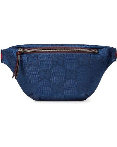 Синяя с ремешком поясная сумка на молнии Gucci Kids