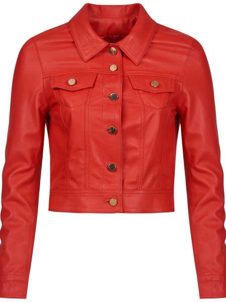 Кожаная куртка на пуговицах - красная Albano