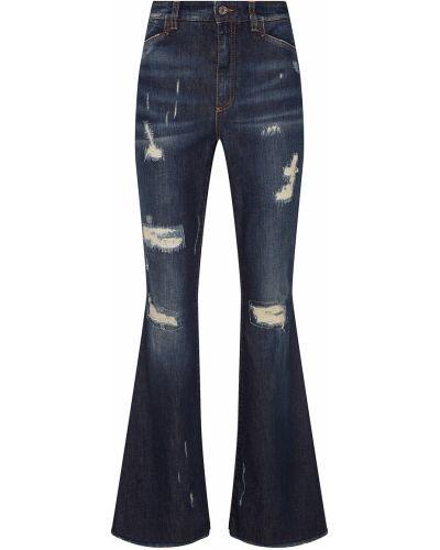 Расклешенные джинсы рваные с эффектом потертости Dolce&gabbana