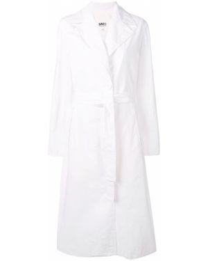 Белый длинное пальто на пуговицах Mm6 Maison Margiela