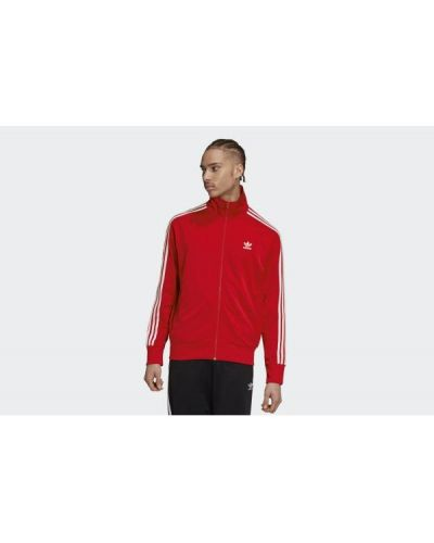 Czerwona długa kurtka z długimi rękawami Adidas