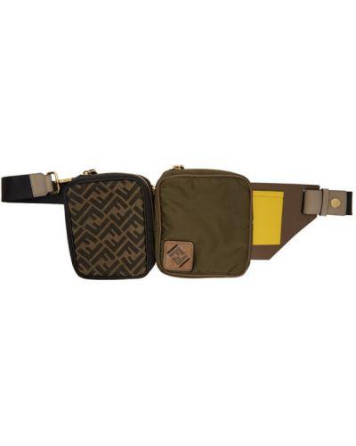 Нейлоновый коричневый ремень с карманами Fendi