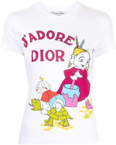T-shirt bawełniany z printem krótki rękaw Christian Dior